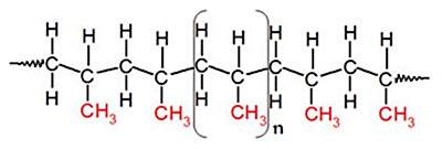 Молекулярная структура полипропилена (формула (C3H6)n)